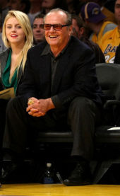 Jack Nicholson and daughter Lorraine in his courtside seat at the L.A. Lakers