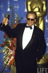 Jack Nicholson holding his Oscar for As Good As It Gets in Press Room at Academy Awards (March 13, 1998)